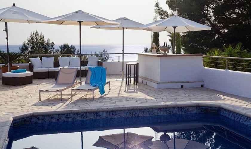 Terrasse und Meerblick Ferienhaus Ibiza IBZ 15