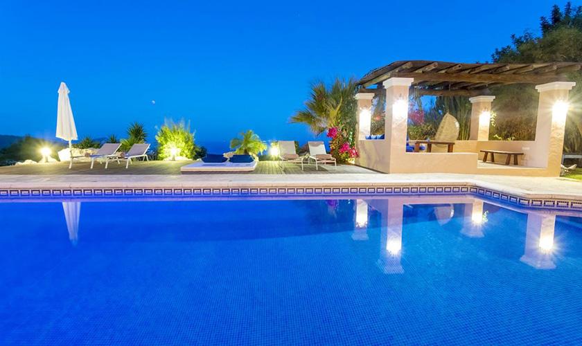 Pool und Meerblick bei Nacht Villa Ibiza IBZ 39