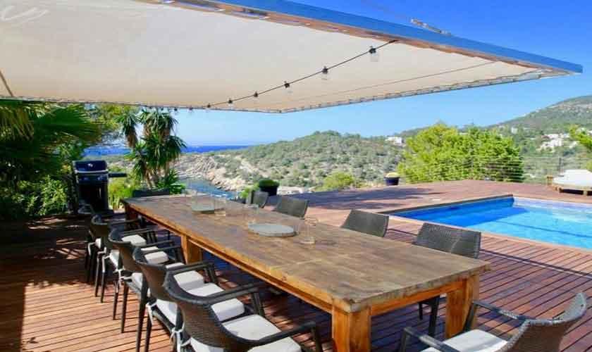 Esstisch Terrasse Meerblick Ferienvilla Ibiza IBZ 81