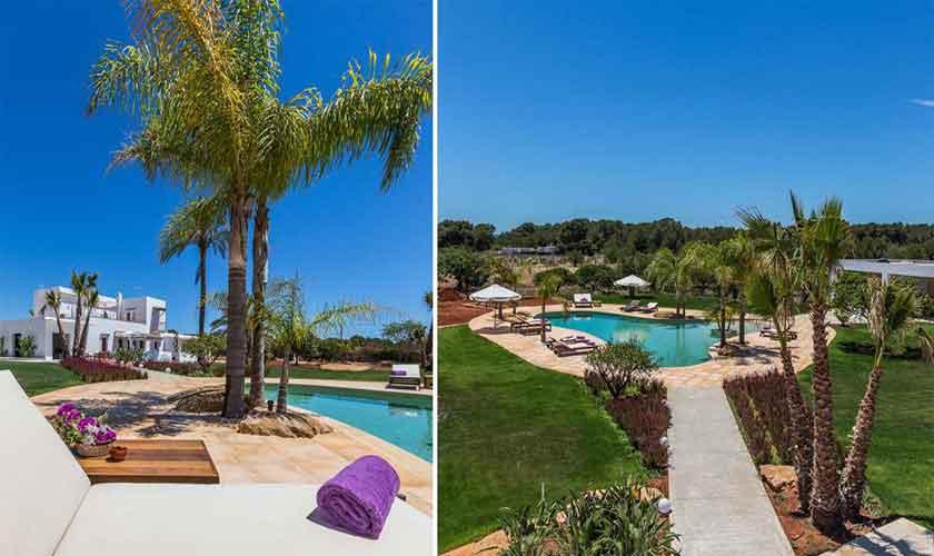 Poolblick und Garten Finca Ibiza IBZ 88