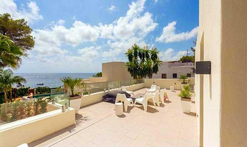 Terrasse oben mit Meerblick Ferienvilla Ibiza IBZ 89