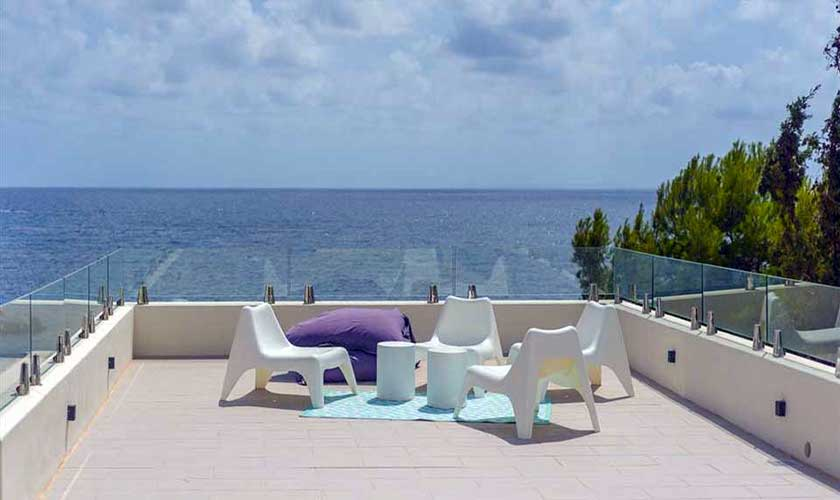 Terrasse oben Villa am Strand Ibiza IBZ 90
