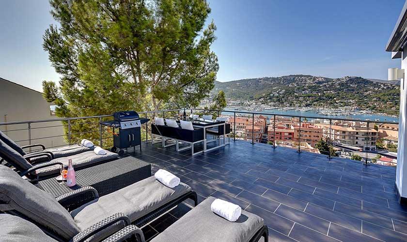 Terrasse und Blick Luxusvilla Mallorca Port Andratx PM 110