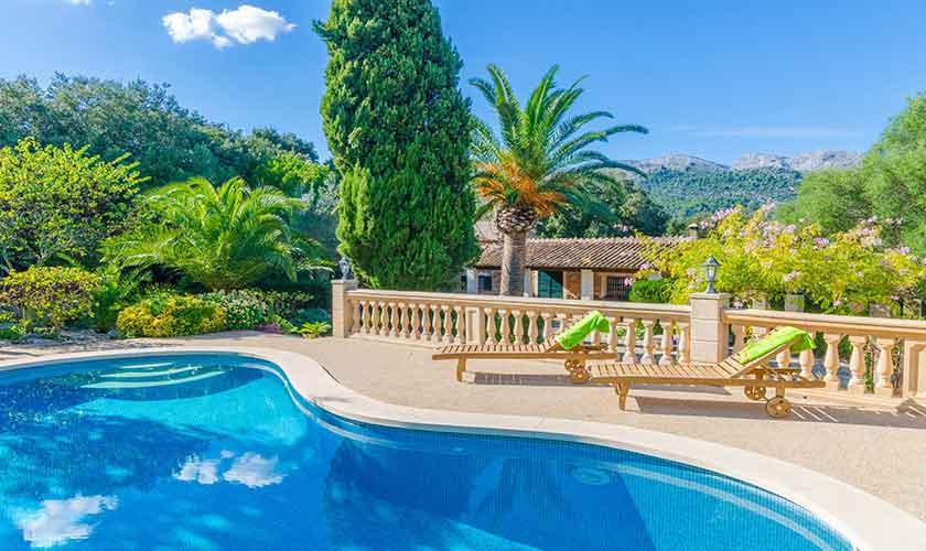Pool und Blick Finca Mallorca Norden PM 3150