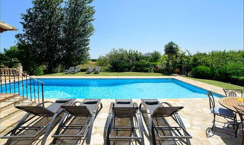 Pool und  Liegen Finca Mallorca Norden PM 3407