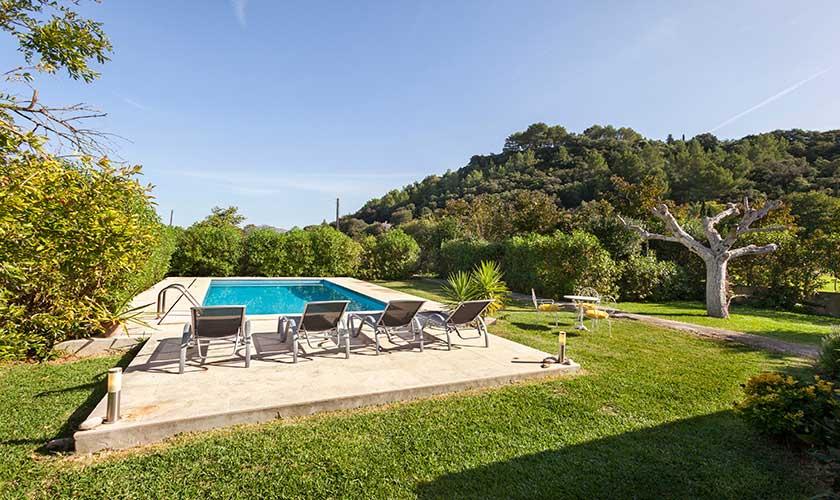 Pool und Landschaft Finca Mallorca bei Pollensa PM 3537