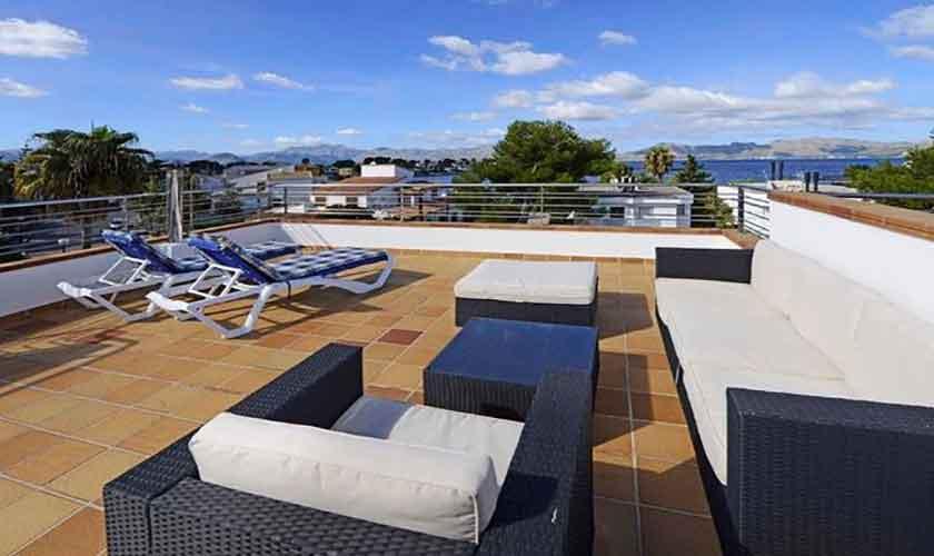 Meerblidk Dachterrasse Ferienhaus Mallorca Alcudia PM 3654