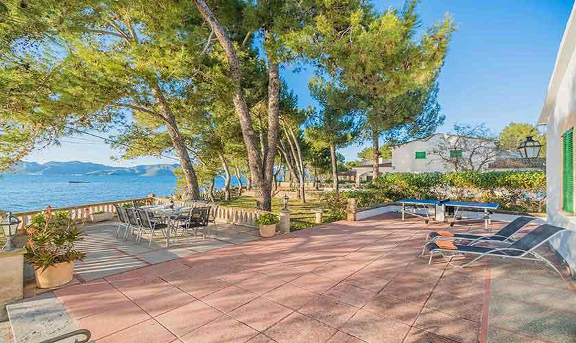 Terrasse und Meerblick Finca Mallorca Norden PM 3735