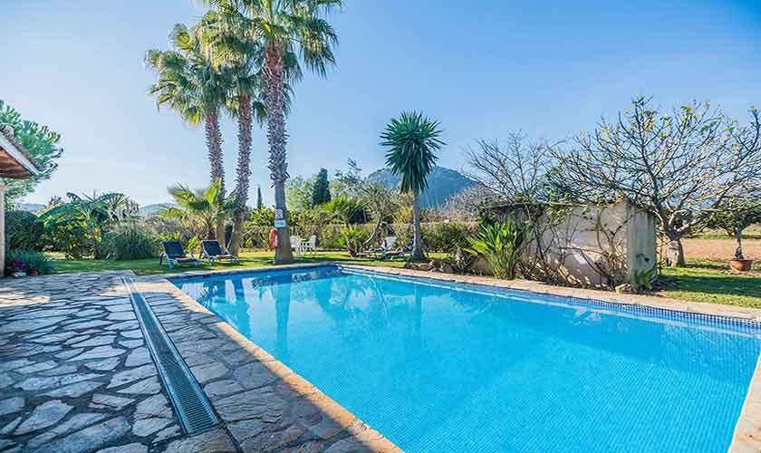 Pool und Landschaft Finca Mallorca Norden PM 3522
