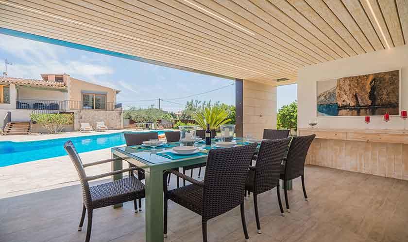 Pool und Terrasse Essplatz Finca Mallorca Norden PM 3781