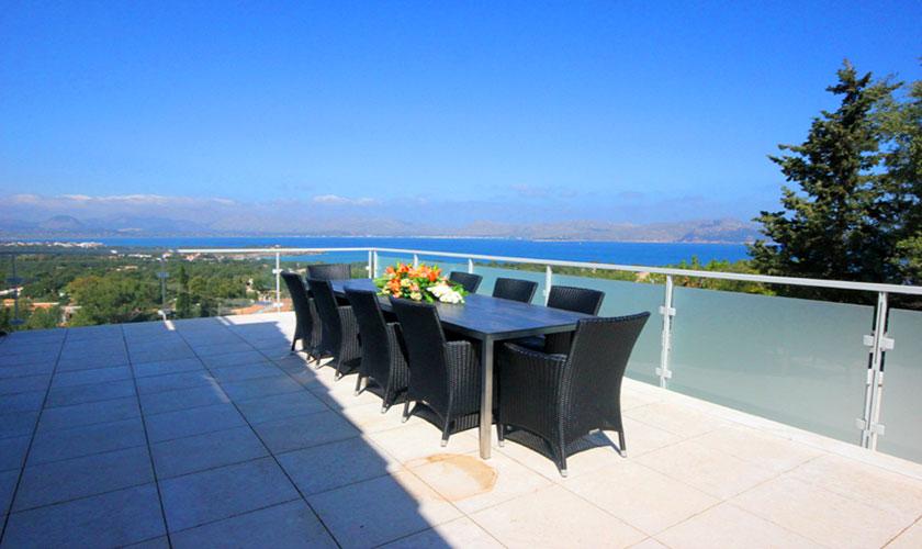 Terrasse und Meerblick Ferienvilla Mallorca Pm 3801