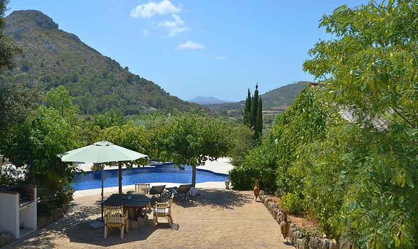 Pool und Landschaft Finca Mallorca Norden PM 3836