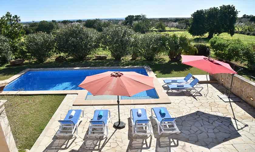 Poolblick von oben Finca Mallorca für 10 Personen PM 6624