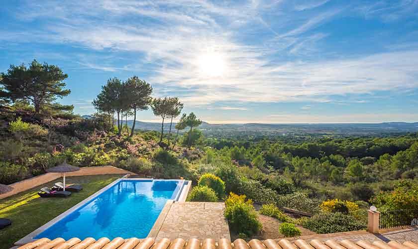 Pool und Landschaft Finca Mallorca bei Felanitx PM 678