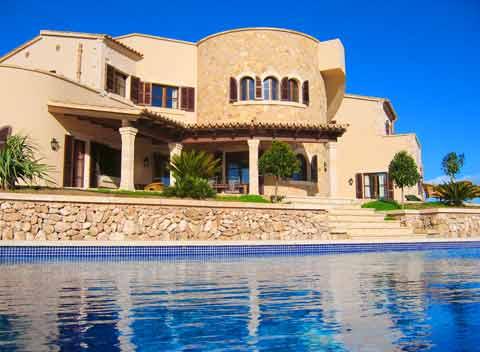 Poolblick Exklusives Ferienhaus Mallorca Santanyi für 10 Personen PM 646