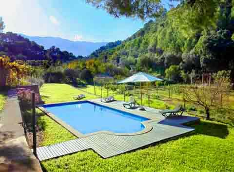 Pool und Landschaft Finca Mallorca Westküste für 8 - 10 Personen PM 225