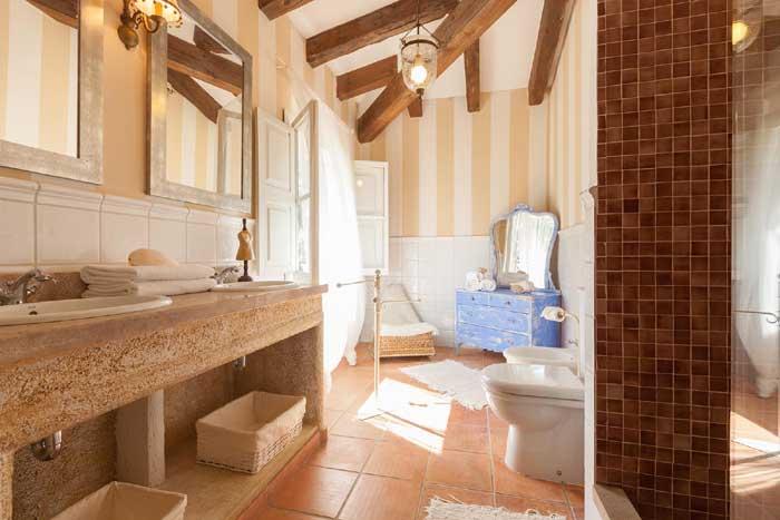 Badezimmer Finca Mallorca mit Pool für 8 Personen PM 3023