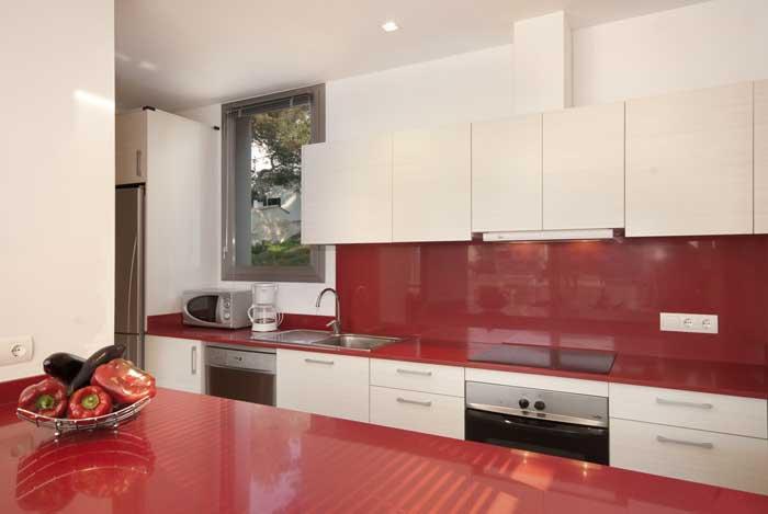 Küche Ferienhaus Mallorca Strandnah Cala San Vicente Aircondition Pool WLAN  PM 3494