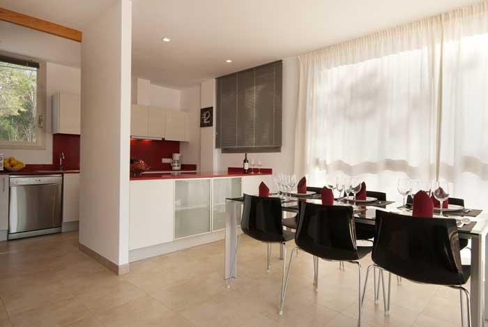 Wohnbereich Ferienhaus Mallorca mit Klimaanlage Strandnähe Pool 6 Personen PM 3494