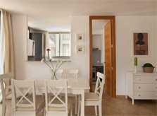 Esstisch Ferienhaus Mallorca  Cala San Vicente Strandneh Klimaanlage Internet Pool PM 3495