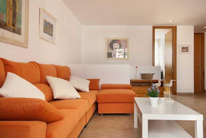 Wohnzimmer Ferienhaus Mallorca Pool 50 m vom Strand 6 Personen PM 3496