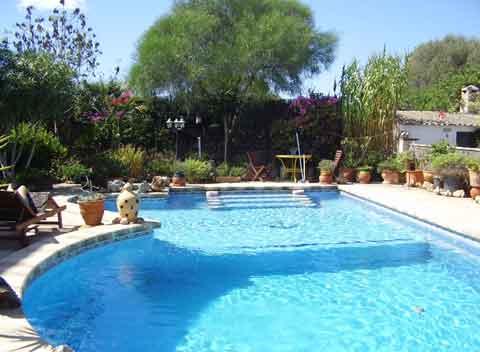 Großer Pool Ferienhaus Mallorca 2 Personen Santanyi PM 647