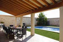 Überdachte Terrasse mit Poolblick Finca für 10 Personen mit Pool Mallorca Südosten PM 6543