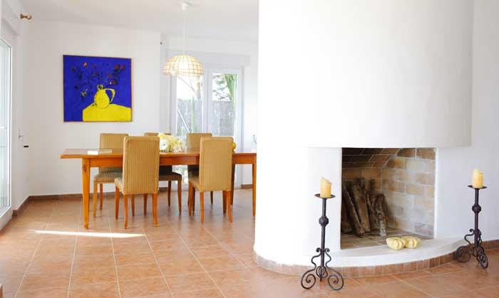 Essplatz Großes Ferienhaus Mallorca Cala D'Or mit Pool und Meerblick Klimaanlage Garten 8 Personen PM 6562