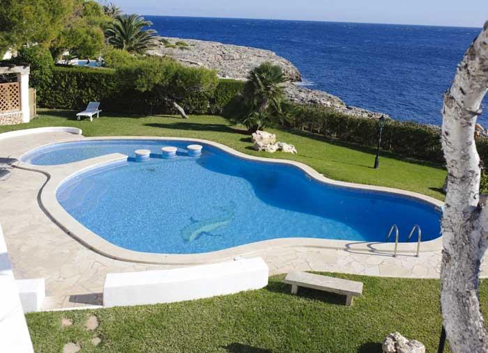 Großer Pool mit Kinderbecken Ferienhaus Mallorca 8 Personen Meerblick Klimaanlage Mallorca Südosten Cala D'Or PM 6562