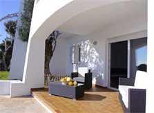 Überdachte Terrasse Großes Ferienhaus Mallorca 8 Personen Meerblick Großer Pool mit Kinderbecken Klimaanlage Garten PM 6562