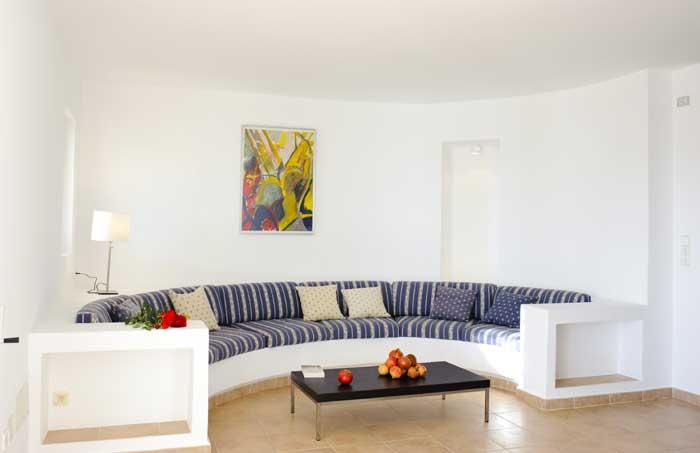 Wohnraum Finca Mallorca mit Meerblick und Pool Klimaanlage Kinderpoolbecken Garten 8 Personen Südosten Mallorca Cala D'orPM 6562