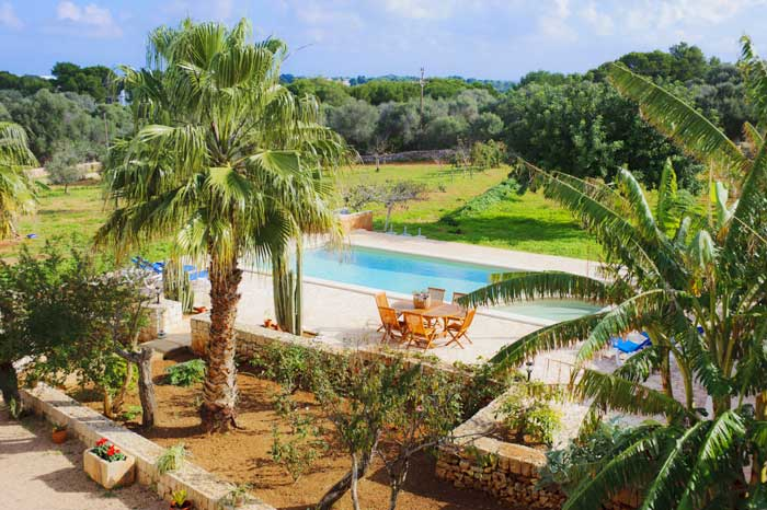 Pool von oben Finca Mallorca Südosten 12 - 14 Personen PM 6563