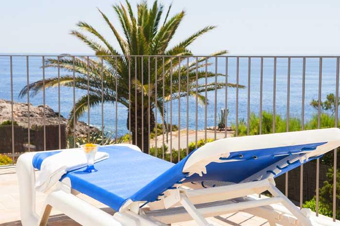 Terrasse und Meerblick Ferienhaus mit Pool Mallorca Südosten PM 6569