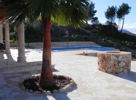 Terrasse mit Palme Komfortable Finca Mallorca mit Pool für 8-10 Personen Klimaanlage Internet PM 678