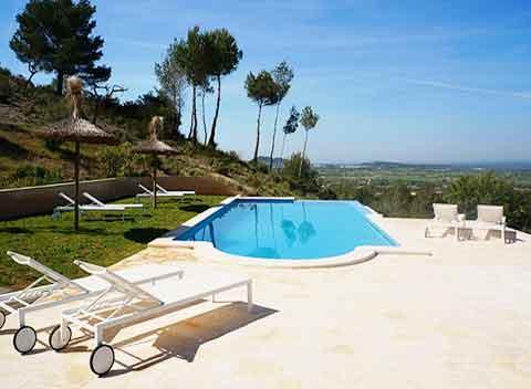 Großer Pool mit Sonnenterrasse und Panoramablick Hochwertige Finca Mallorca mit Klimaanlage und Wlan 8-10 Personen Mallorca Felanitx PM 678