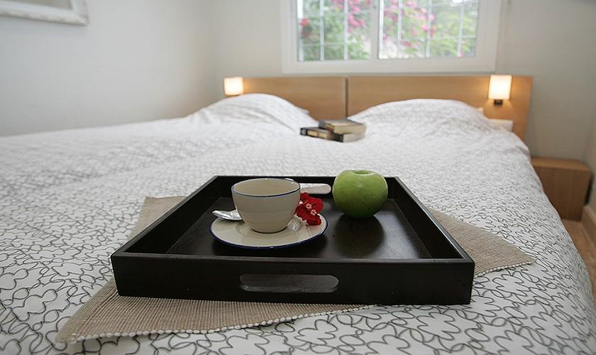 Schlafzimmer Ferienhaus Ibiza mit Meerblick IBZ 19