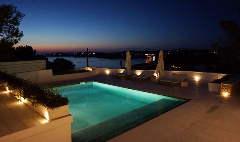 Pool bei Nacht Ferienvilla Ibiza Meerblick IBZ 20