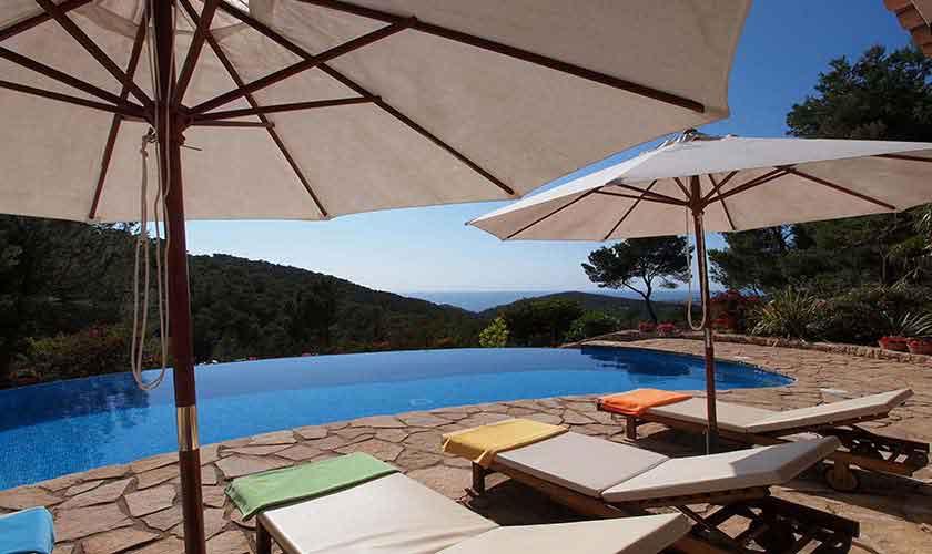 Pool und Liegen Villa Ibiza 10 Personen IBZ 24