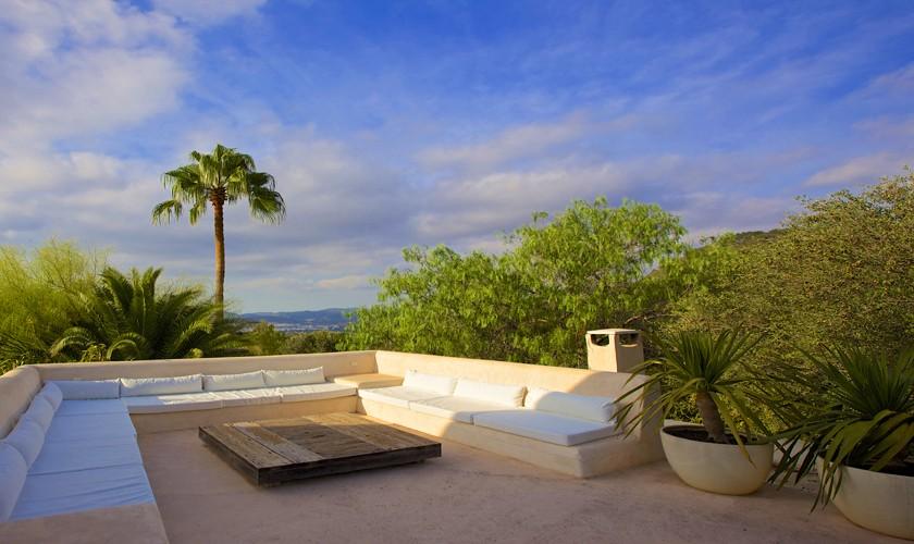 Terrasse und Blick Finca Ibiza 10 Personen IBZ 25