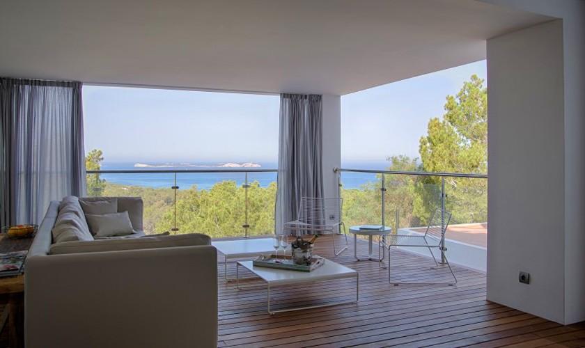 Wohnraum Meerblick Ferienvilla Ibiza 12 Personen IBZ 30