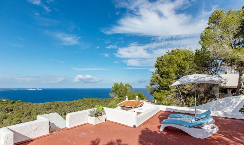 Dachterrasse Ferienvilla Ibiza Meerblick IBZ 31
