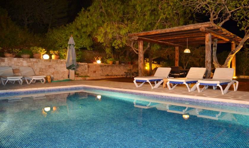Pool bei Nacht Finca Ibiza IBZ 35