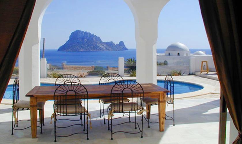 Terrassse mit Meerblick und Pool Villa Ibiza IBZ 50