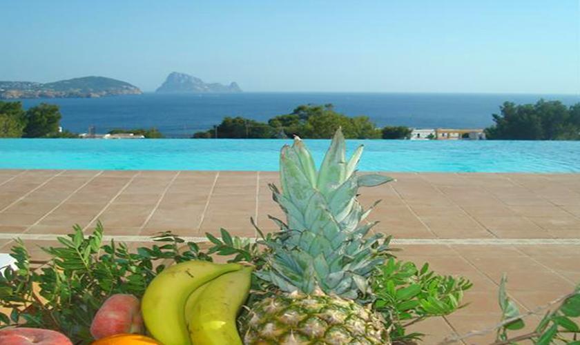 Poolblick Ferienhaus Ibiza Meerblick IBZ 55