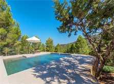 Pool und Blick Ferienhaus Ibiza Cala Tarida  IBZ 10