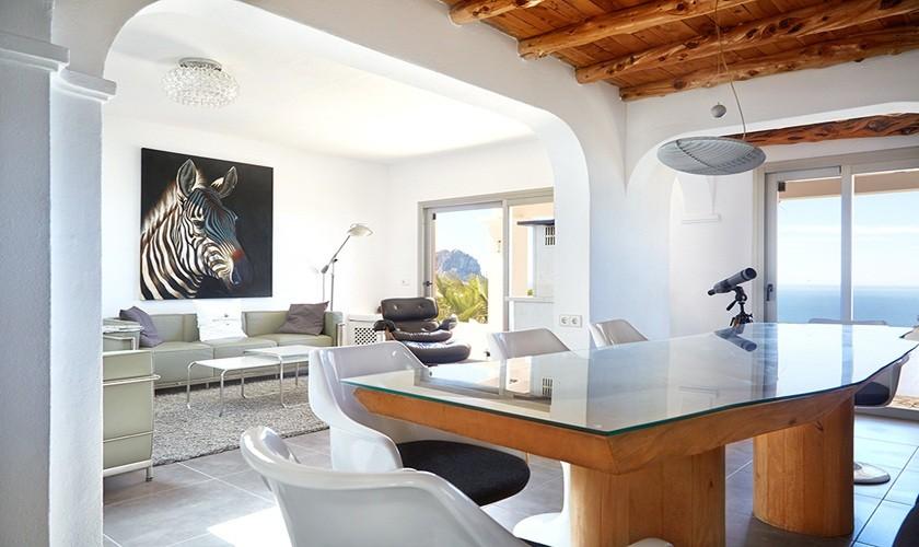 Essplatz hochwertiges Ferienhaus Ibiza Meerblick Pool IBZ 12