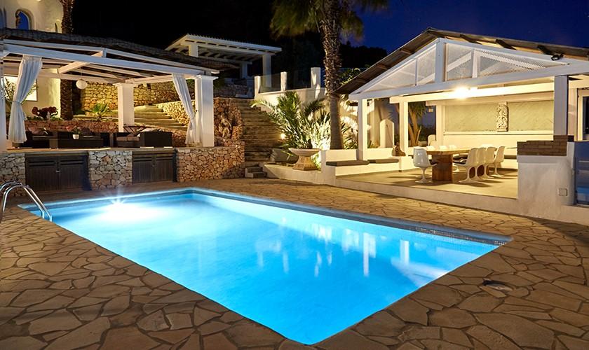 Pool mit Beleuchtung Villa Ibiza mit Klimaanlage 10 Personen IBZ 12