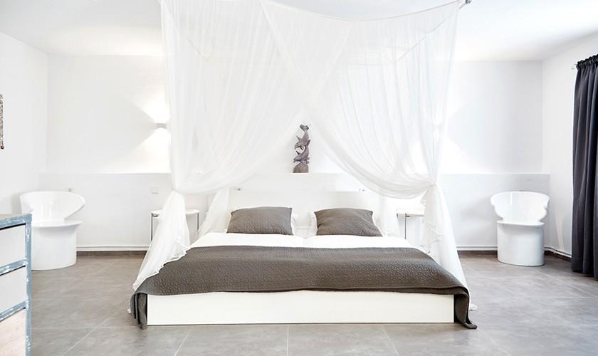Schlafraum Ferienhaus Ibiza Meerblick Pool Klimaanlage IBZ 12