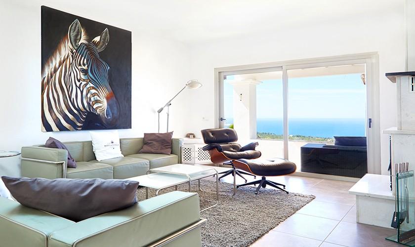 Komfortables Wohnzimmer mit Meerblick Poolvilla Ibiza IBZ 12