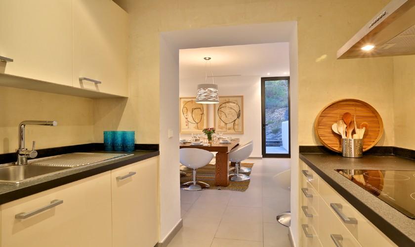 Küche Poolvilla mit Meerblick WLAN Aircondition IBZ 14